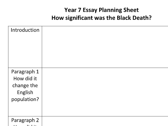 ks3 - essay planning sheet