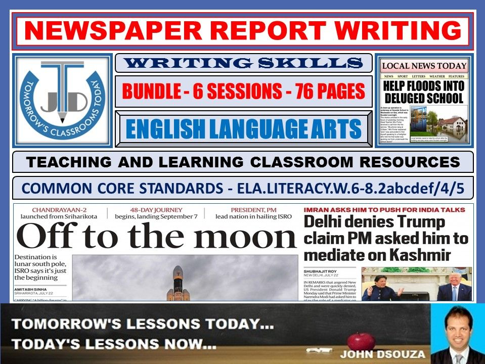 NEWSPAPER REPORT WRITING: BUNDLE OF TEACHING AND LEARNING RESOURCES