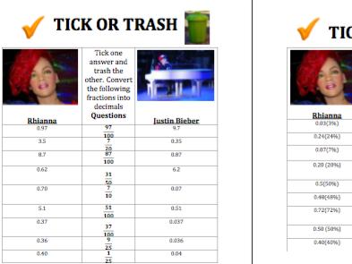 Converting between Fractions, Decimals and Percentages Tick or Trash