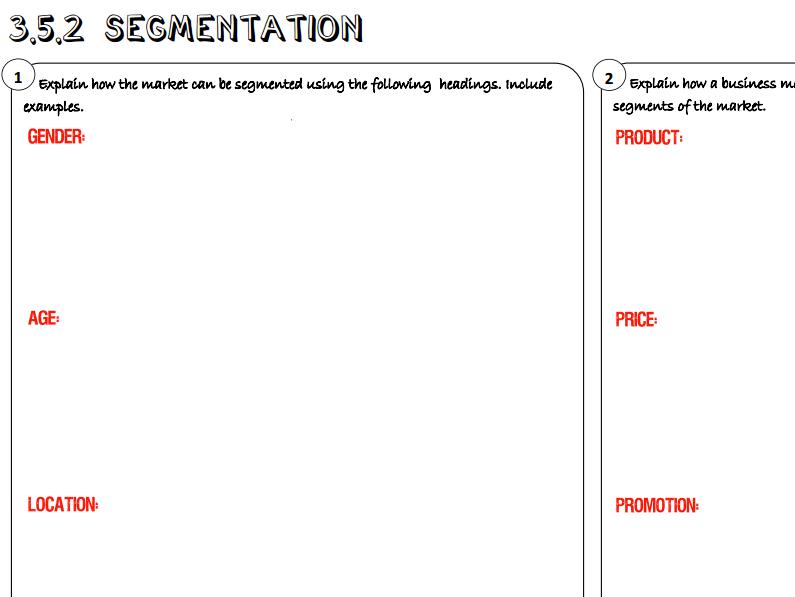 AQA GCSE Business (9-1) 3.5.2 Segmentation Learning Mat / Revision