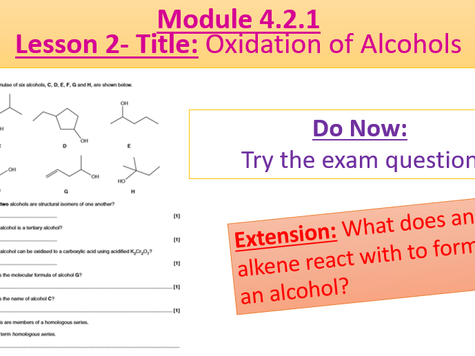 A Level Chemistry OCR A Module 4.2.1- Lesson 2- Oxidation of Alcohols