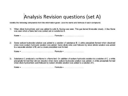 AQA GCSE Chemistry - C12 Revision - Analysis Revision Questions - Higher