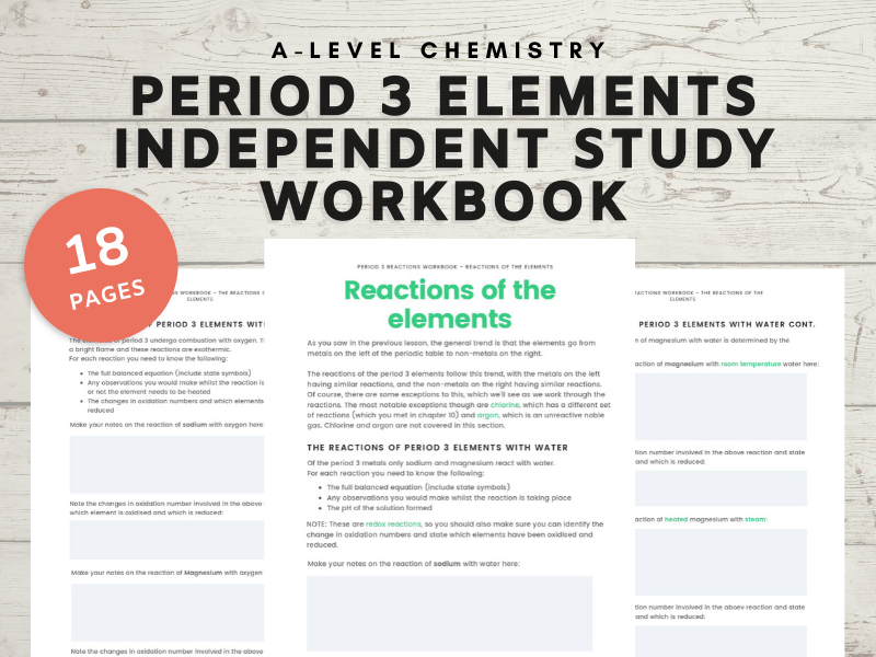 Period 3 elements and their oxides A-level Chemistry independent study workbook