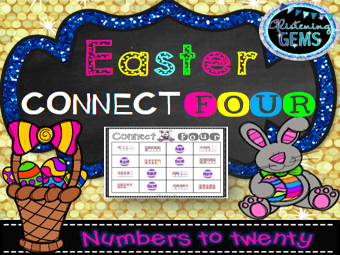 Easter Math Game - Connect Four Numbers to Twenty