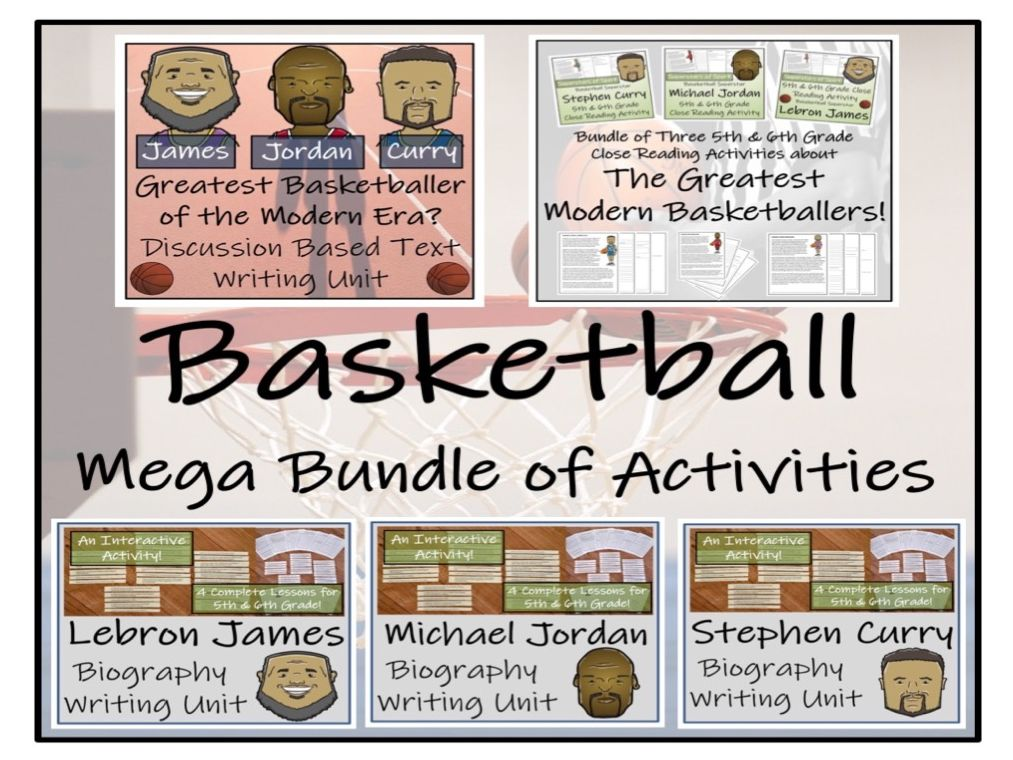 UKS2 Literacy - Famous Basketball Players Reading Comprehension & Writing Mega Bundle
