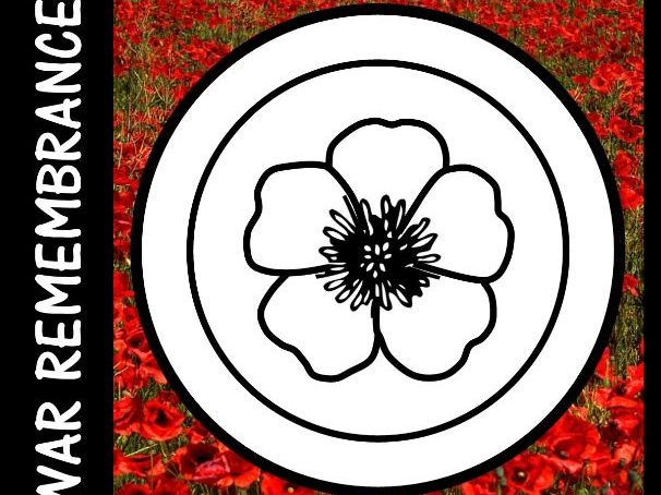 Anzac Day, Armistice Day, Remembrance Day  -  Colour the Poppy