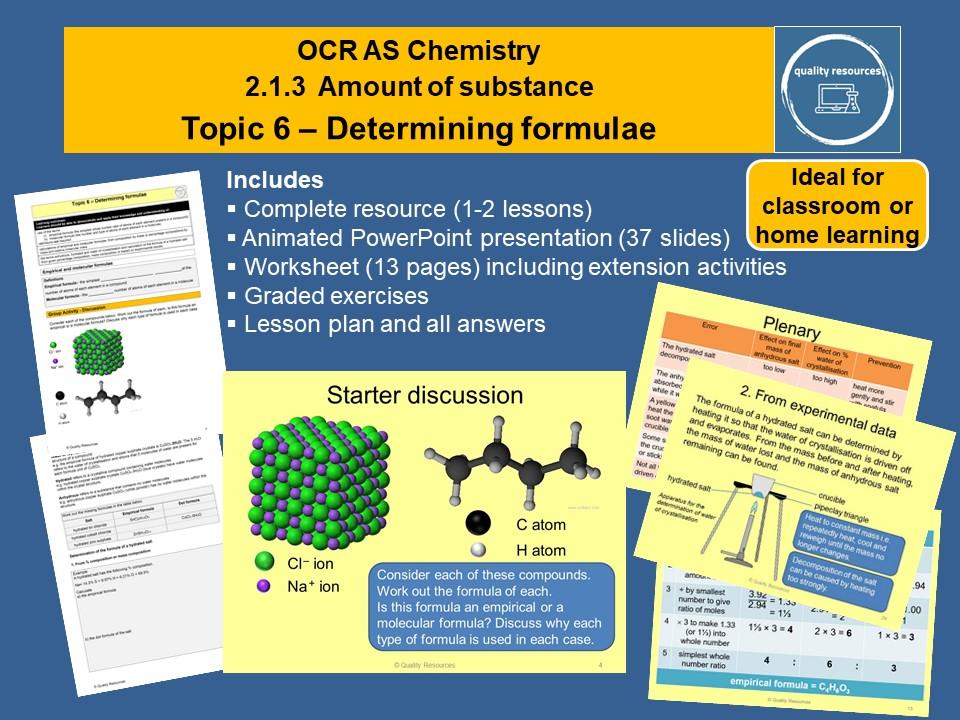 Determining formulae OCR AS Chemistry