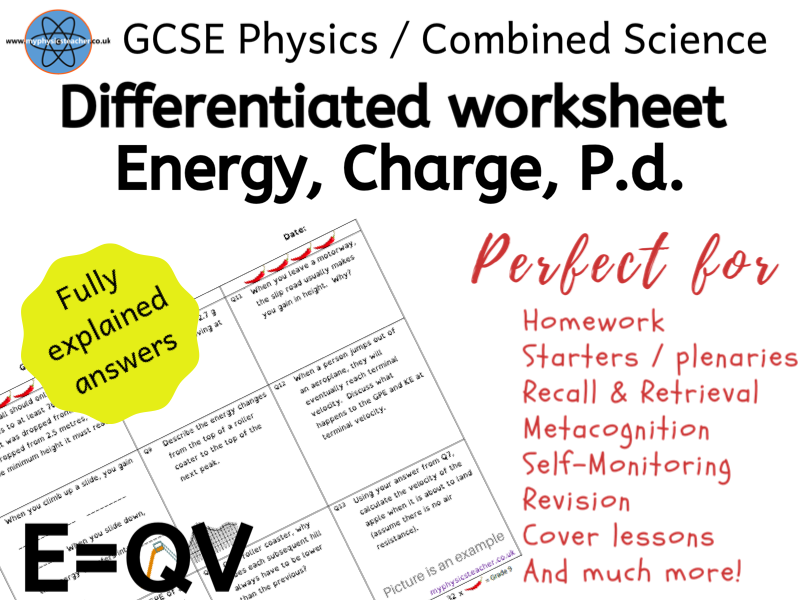 Energy (work done), Charge, Potential Difference - E=QV - GCSE Physics / Combined Science Worksheet