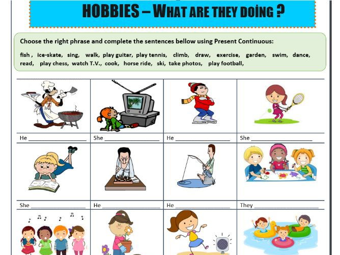 Present Continuous Hobbies By Mariapht Teaching Resources