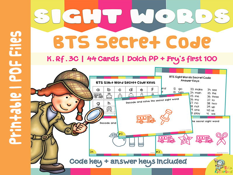 Sight Words Games, Sight Words Practice, Secret Code Sight Words BTS Edition