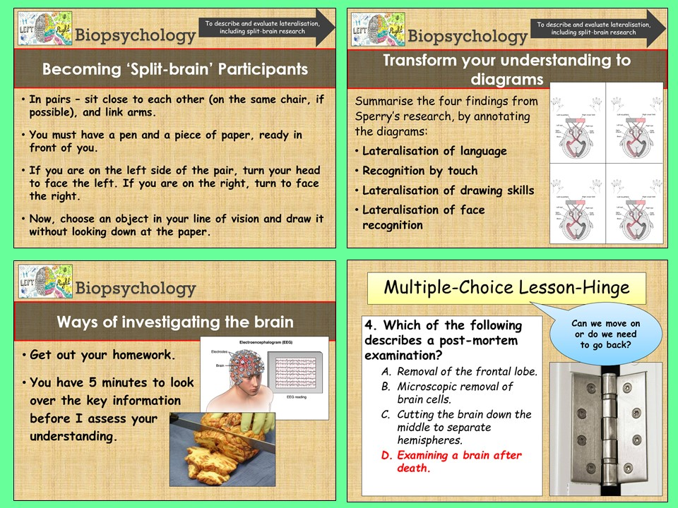 AQA A-level Psychology - Lateralisation (Split-brain) and Methods of Investigation - Biopsychology