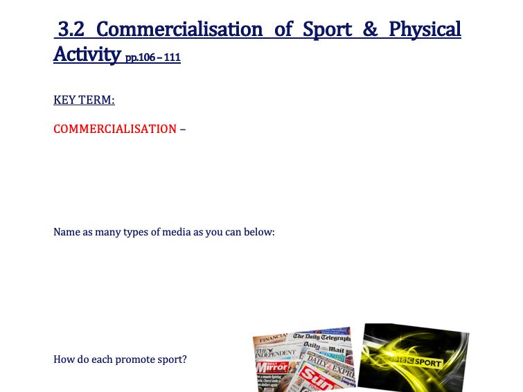 OCR GCSE P.E. (9-1)  - 3.2 Commercialisation of Physical Activity and Sport WORK BOOKLET