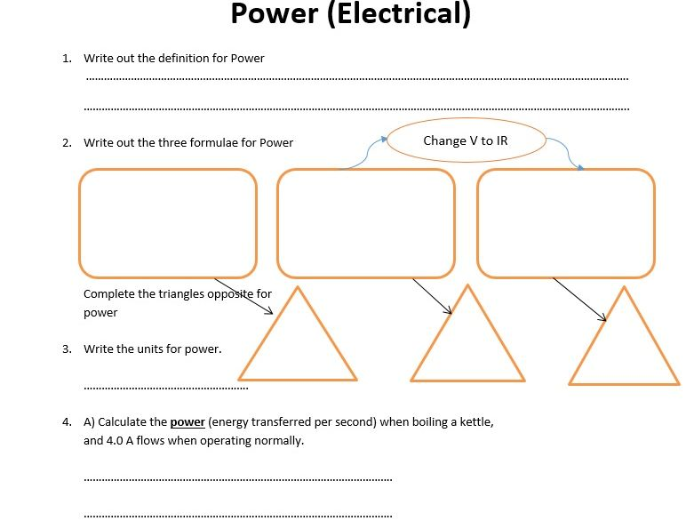 GCSE Physics Worksheet: Electrical Power, definition, formula and Q&A
