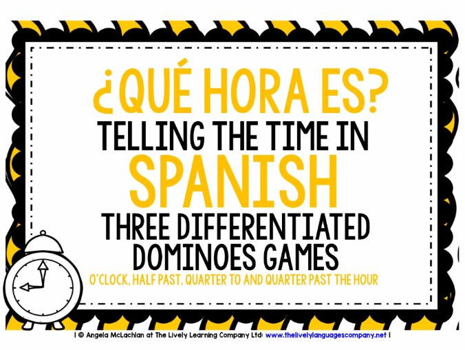 SPANISH TELLING THE TIME - 3 DIFFERENTIATED DOMINOES GAMES (1)