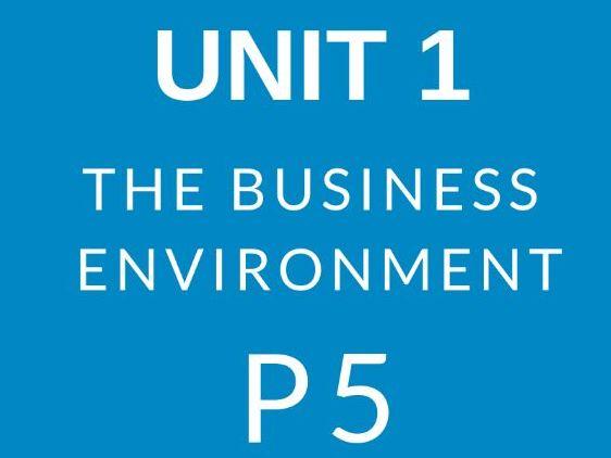 BTEC Business Level 3 Unit 1 The Business Environment P5