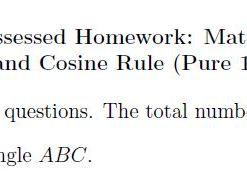 Edexcel Pure 1 Chapter 9 Homework - Sine and Cosine Rule