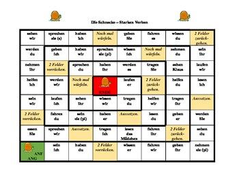 Irregular verbs in German Schnecke Snail game
