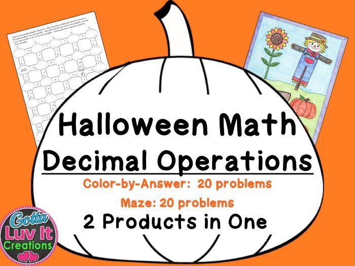 Halloween Math - Decimal Operations