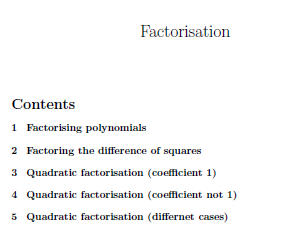 Factorisation worksheets (with solutions)