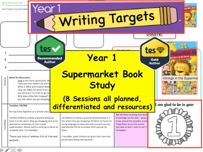 Year 1 / 2 Supermarket Zoo Book Study  Resource Pack  (English, Creative Writing, Fiction, literacy