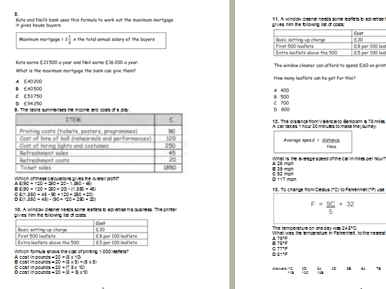Maths multiple  choice questions. Functional Skills / problem solving L2 with answers. Revision