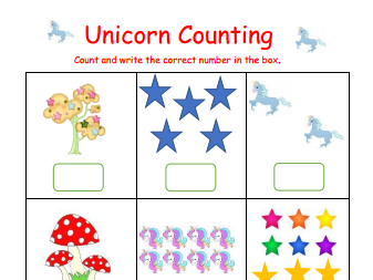 Unicorn Count and Write worksheet 0 to 6