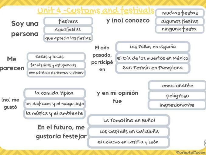 Trapdoor - Unit 4  (Customs and festivals). GCSE Spanish 1-9 AQA.