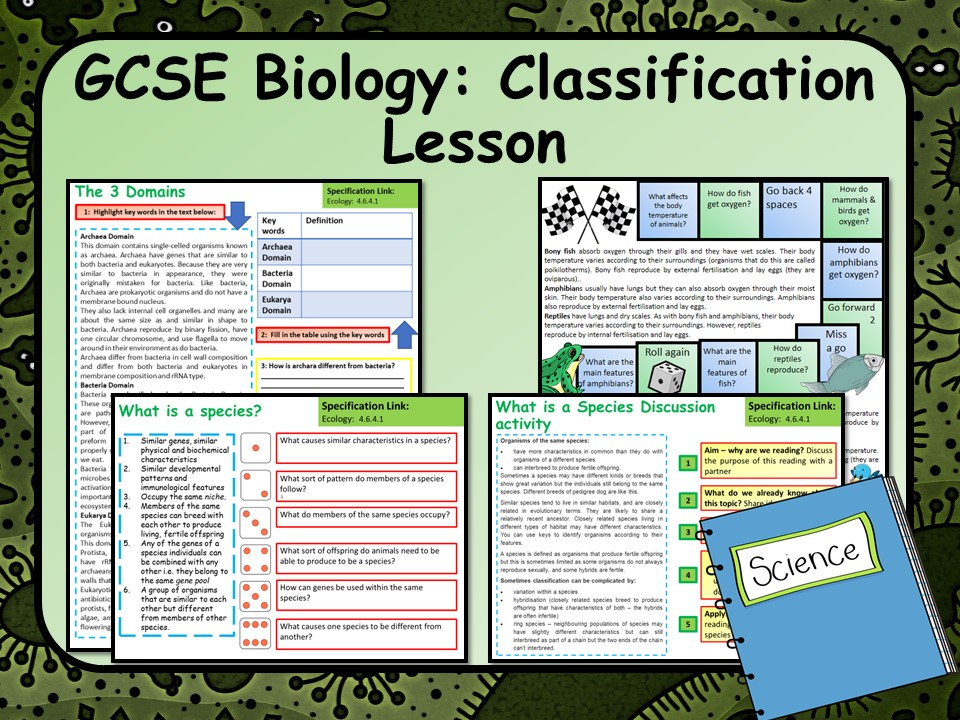 AQA GCSE Biology (Science) Ecology:  Classification Lesson   Teaching Resources