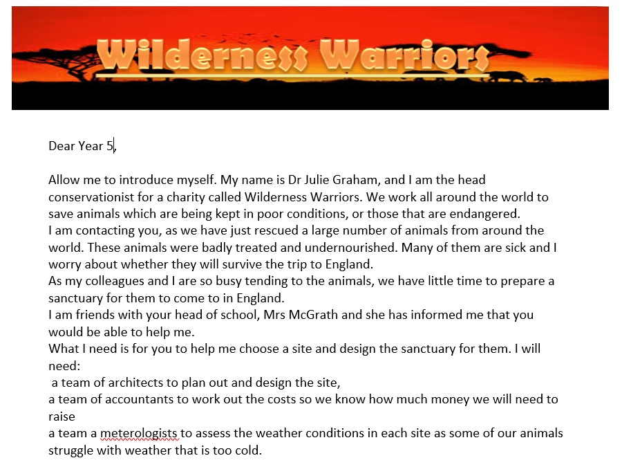 Year 5 Maths- Wilderness Warriors Area, line graphs and number