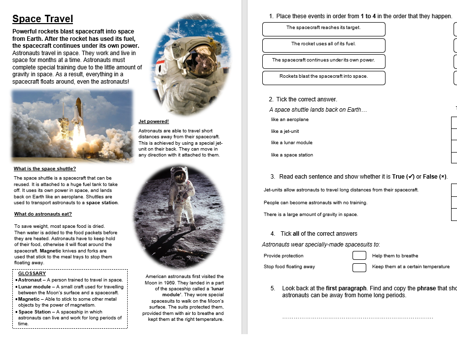 Space Travel - Space KS2 Primary Reading Comprehension National Test Style Sample Questions