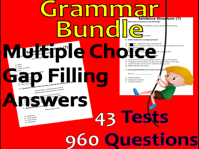 ELA Grammar Review Bundle | Assessments by Standard | Grade 3-4