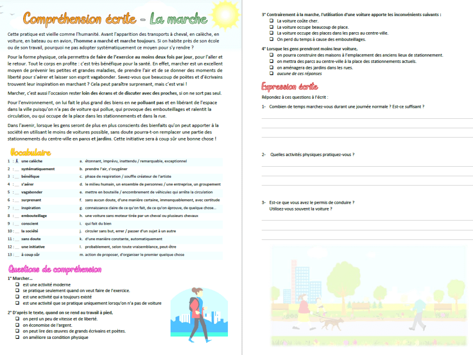 [French A2, B1] Text about *walking*: comprehension & written expression