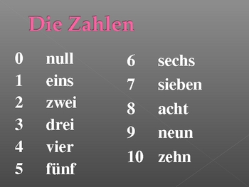 Numbers in German powerpoint