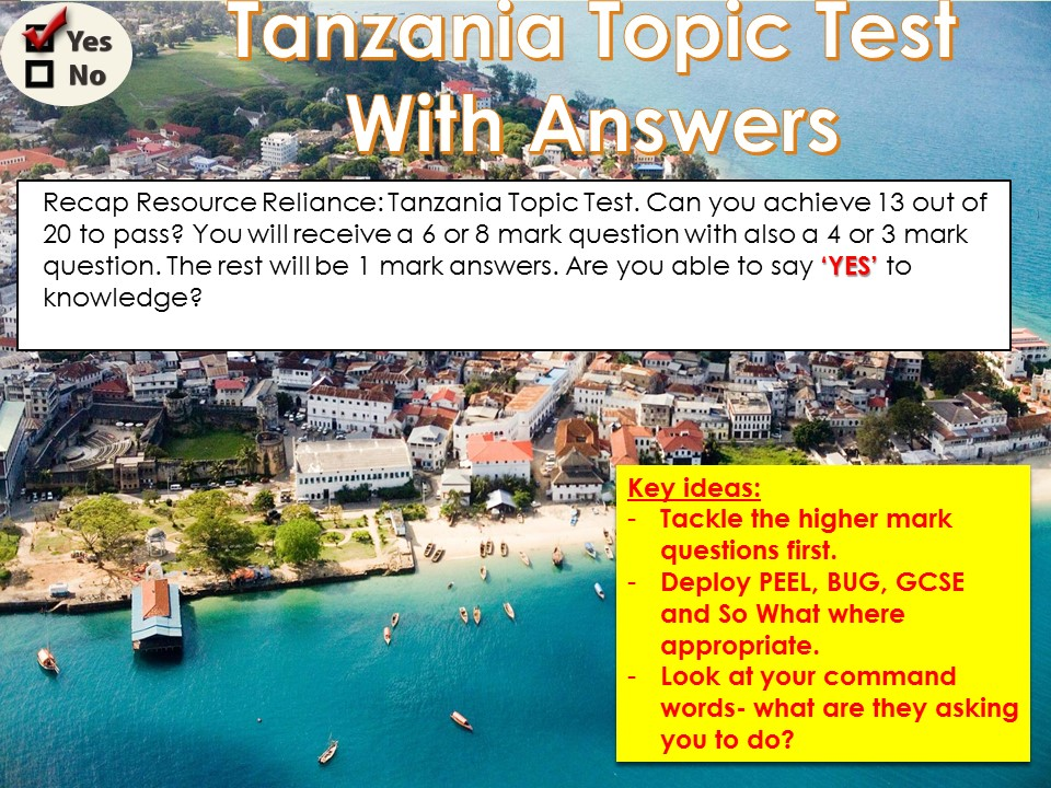 OCR B Topic Tests 3) Tanzania WITH ANSWERS