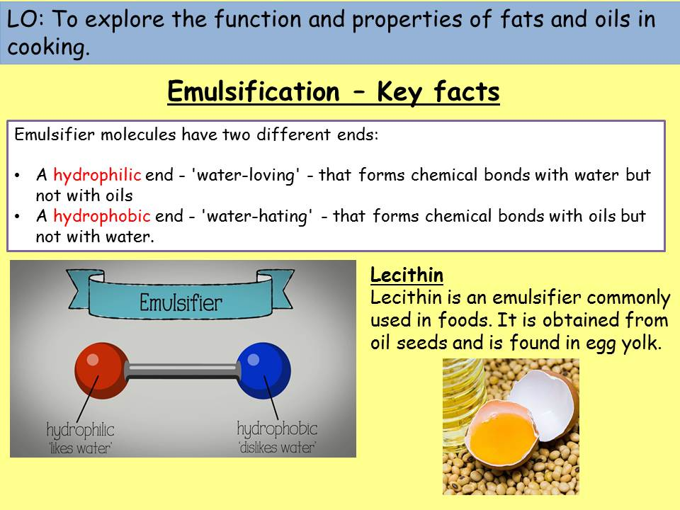 Emulsification and aeration - function of fats