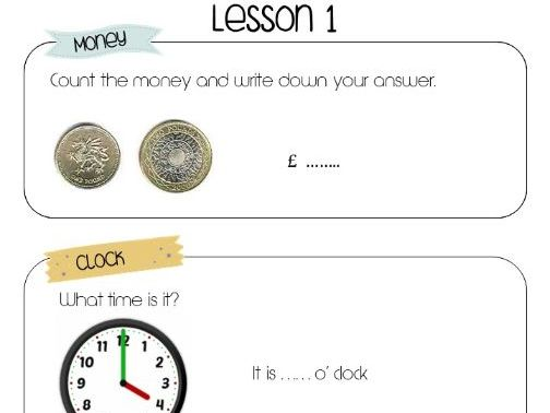 Functional Math worksheets for special education (lessons 1-5)