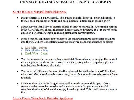 Physics Paper 1 Topics Revision Notes - Combined Science AQA GCSE Physics