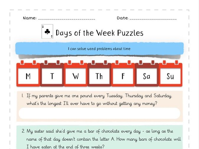 Days Of The Week Word Problems By Misspoolescoolschool Teaching