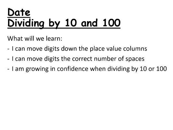 Dividing by 10 and 100 PowerPoint Lesson