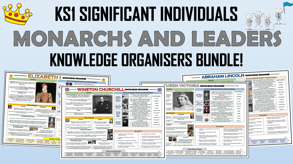 KS1 Significant Individuals - Monarchs and Leaders - Knowledge Organisers Bundle!