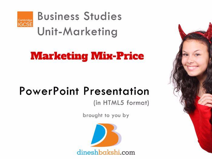 Marketing Mix- Price- IGCSE Business Studies