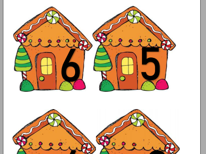 0 to 10 Gingerbread houses EYFS