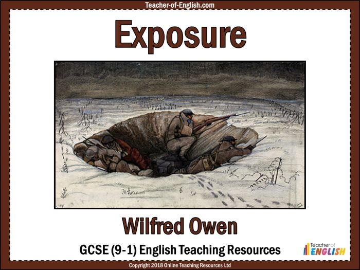 exposure analysis wilfred owen Annotation prompts for wilfred owen's 'exposure' wilfred owen's 'exposure' focuses on the impact of weather and the harsh conditions that were encountered during world war 1.