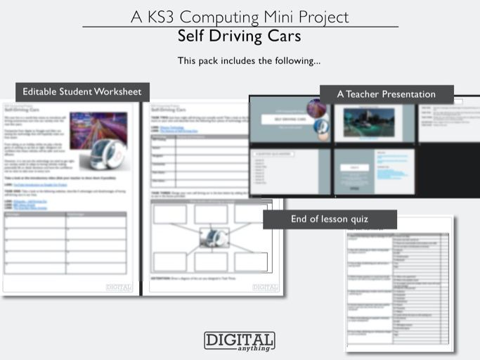 Self Driving Cars: Computing, ICT or Computer Science Lesson (Single or Cover, KS3 or KS4)