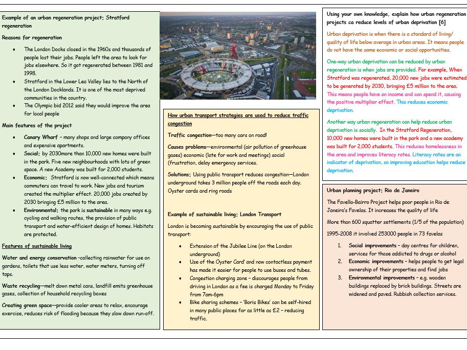 Geography GCSE Knowledge organiser AQA Unit 2
