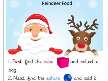 KS1: Christmas - Identify 3D shapes on a shape hunt to make reindeer food.