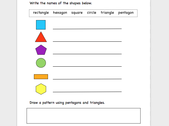 Names of 2D shapes.