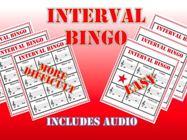 Interval Bingo Card Games for GCSE and Post 16 Music lessons including audio