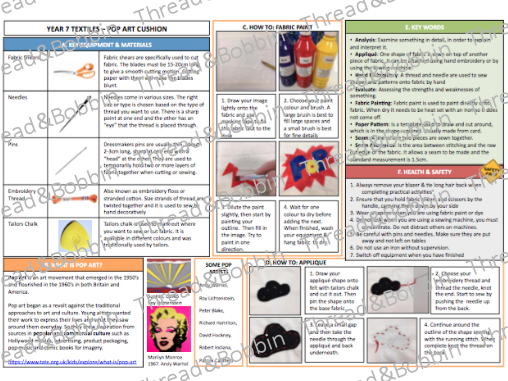 Textiles Knowledge Organiser - Year 7 - Pop Art