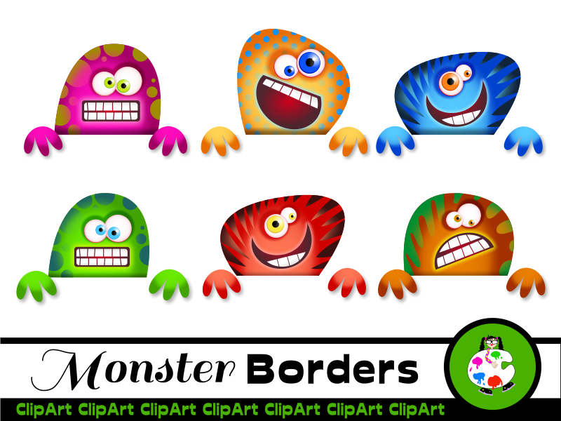 Cartoon Monster Border Clip Art